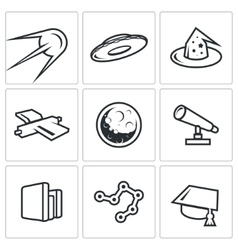 Astronomy space science icons set vector image