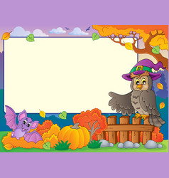 autumn frame with halloween theme 5 vector image
