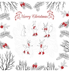 Background with Christmas forest vector image