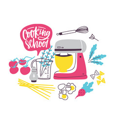 banner template with cookware or kitchen utensils vector image