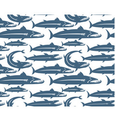 Barracuda fish seamless pattern for your design vector