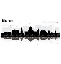 bern switzerland city skyline with black vector image