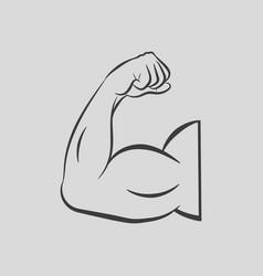 Biceps flex arm muscular bodybuilder pose vector