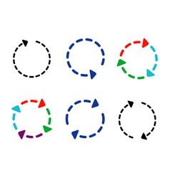 big set circle arrows and directions signs round vector image