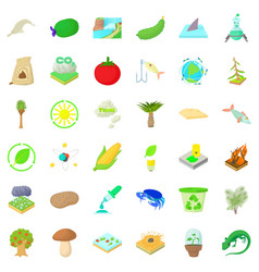 Biology science icons set cartoon style vector
