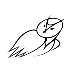 Black and white doodle sketch of an owl vector