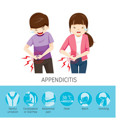 boy and girl stomachache because to appendicitis vector image