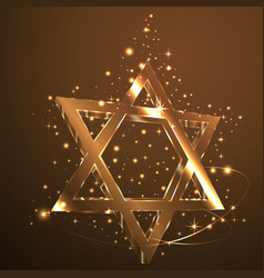 brown star of david glass jewish symbol abstract vector image