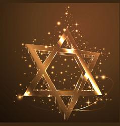 Brown star of david glass jewish symbol abstract vector