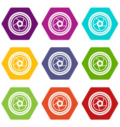 camera aperture icon set color hexahedron vector image