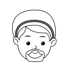 Cartoon face joseph manger character line vector