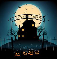 cartoon halloween night template vector image