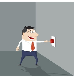Cartoon man pushing a red button vector image