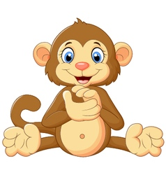 Cartoon monkey clapping hand vector image