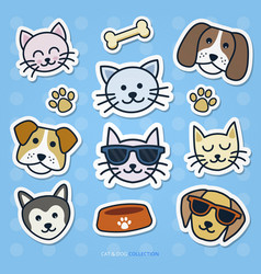 cat and dog sticker set vector image