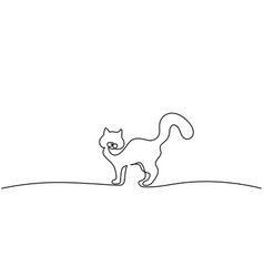 cat standing with curled tail line drawing vector image