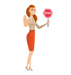 caucasian business woman holding stop road sign vector image