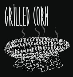 Chalkboard grilled corn ears fruit vector