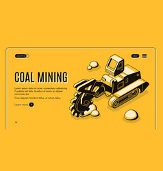 Coal mining company isometric website vector