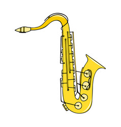 color hand-drawn musical instrument - saxophone vector image