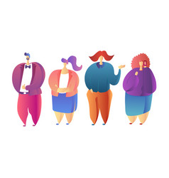 Colorful people portraits set - hand drawn flat vector