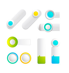 Colorful toggles and buttons collection vector