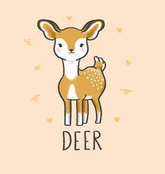 cute deer cartoon hand drawn style vector image