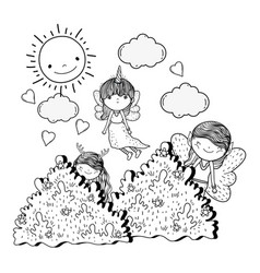 Cute little fairies group in field vector