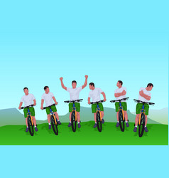 cyclists group 01 vector image