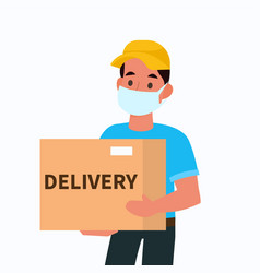 Delivery man in face mask courier holding vector