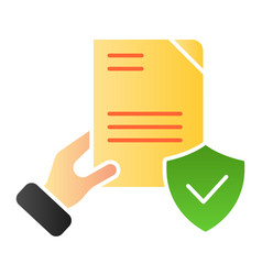 Document verified in hand flat icon checked vector