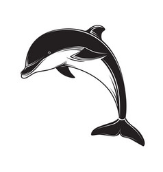 Dolphin icon black silhouette dolphin emblem and vector
