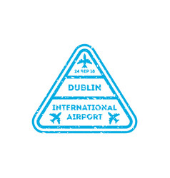 Dublin city visa stamp on passport vector