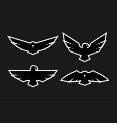 eagle a set of monochrome logos vector image