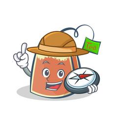 explorer tea bag character cartoon vector image
