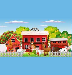 Farm scene with farmer boy and animals vector