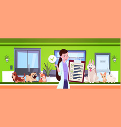 Female veterinarian over dogs sitting in waiting vector