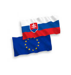 Flags european union and slovakia on a white vector