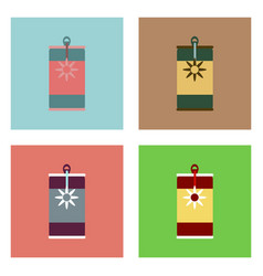 Flat icon design collection canned food and can vector