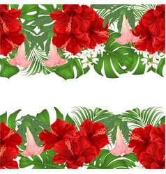 Floral border seamless background horizontal vector