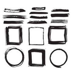 frames and brush strokes grunge textured hand vector image