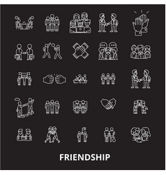 friendship editable line icons set on black vector image