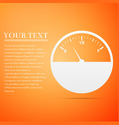 fuel gauge flat icon on orange background vector image