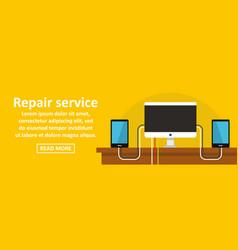 Gadget repair service banner horizontal concept vector