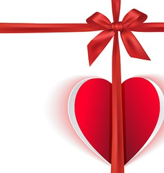 Gift bow with paper heart vector image