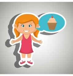 Girl cartoon cup cake vector
