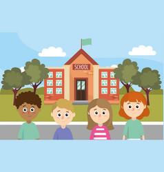 girls and boys children back shool education vector image