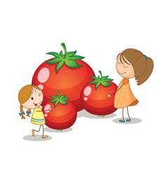 girls and tomatoes vector image