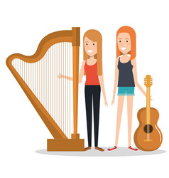 Girls playing musical instruments together vector