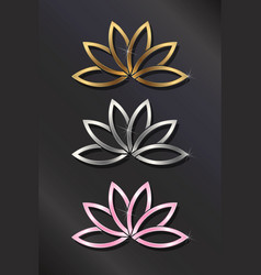 golden silver pink lotus plant image vector image